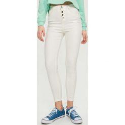 Spodnie damskie: Spodnie z wysokim stanem – Biały