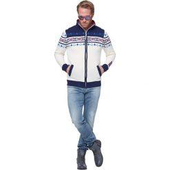"""Swetry męskie: Sweter rozpinany """"Canadian"""" w kolorze biało-granatowym"""