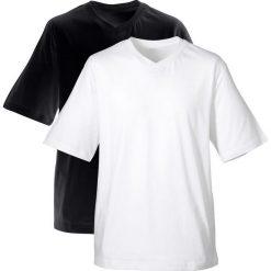 T-shirt męski z dekoltem w serek (2 szt.) bonprix czarny + biały. Białe t-shirty męskie bonprix, m, z bawełny, z dekoltem w serek. Za 49,98 zł.