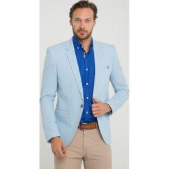 Marynarki męskie slim fit: Marynarka – Slim fit – w kolorze błękitnym