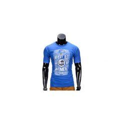 T-SHIRT MĘSKI Z NADRUKIEM S839 - NIEBIESKI. Niebieskie t-shirty męskie z nadrukiem marki Ombre Clothing, m. Za 29,00 zł.