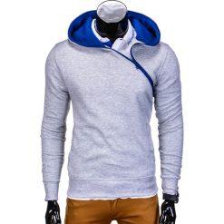 Bluzy męskie: BLUZA MĘSKA ROZPINANA Z KAPTUREM B598 - SZARA