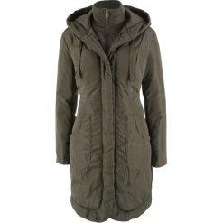 Płaszcz ocieplany bonprix ciemnooliwkowy. Zielone płaszcze damskie bonprix. Za 239,99 zł.