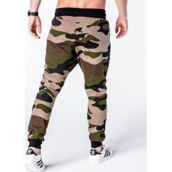 SPODNIE MĘSKIE DRESOWE P636 - ZIELONE/MORO. Zielone spodnie dresowe męskie Ombre Clothing, moro, z bawełny. Za 39,00 zł.