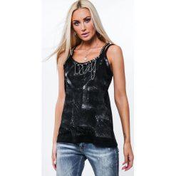 Bluzki asymetryczne: Bluzka na podwójnych ramiączkach czarna ZZ1112