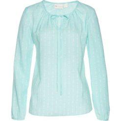 Bluzki damskie: Bluzka tunikowa bonprix pastelowy miętowy - biały z nadrukiem