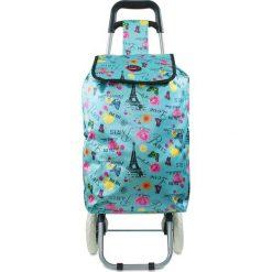 """Shopper bag damskie: Torba """"Oural"""" w kolorze niebieskim ze wzorem na zakupy – 35 x 92 x 28 cm"""