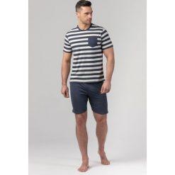 Piżamy męskie: Męska piżama RÖSSLI Navy Stripes