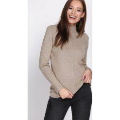 Beżowy Sweter Discernment. Niebieskie swetry klasyczne damskie marki ARTENGO, z elastanu, ze stójką. Za 59,99 zł.