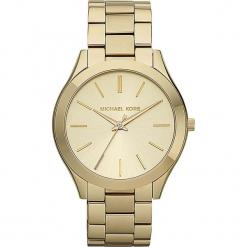 """Zegarek kwarcowy """"Slim Runway"""" w kolorze złotym. Żółte, analogowe zegarki damskie marki Michael Kors, ze stali. W wyprzedaży za 454,95 zł."""