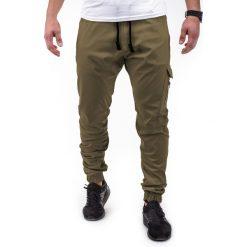 SPODNIE MĘSKIE JOGGERY P391 - ZIELONE. Zielone joggery męskie marki Ombre Clothing, na zimę, m, z bawełny, z kapturem. Za 53,00 zł.