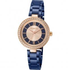 """Zegarek kwarcowy """"Elite"""" w kolorze złoto-niebieskim. Niebieskie, analogowe zegarki damskie METROPOLITAN, metalowe. W wyprzedaży za 173,95 zł."""