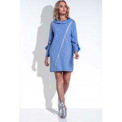 Niebieska Sukienka Mini z Falbankami na Rękawach Uszyta. Niebieskie sukienki mini marki Molly.pl, na spacer, m, melanż, z dzianiny, z asymetrycznym kołnierzem, asymetryczne. Za 140,00 zł.
