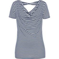 T-shirt z kokardką bonprix ciemnoniebiesko-biały w paski. Czarne t-shirty damskie marki bonprix, w paski, z dekoltem woda. Za 74,99 zł.