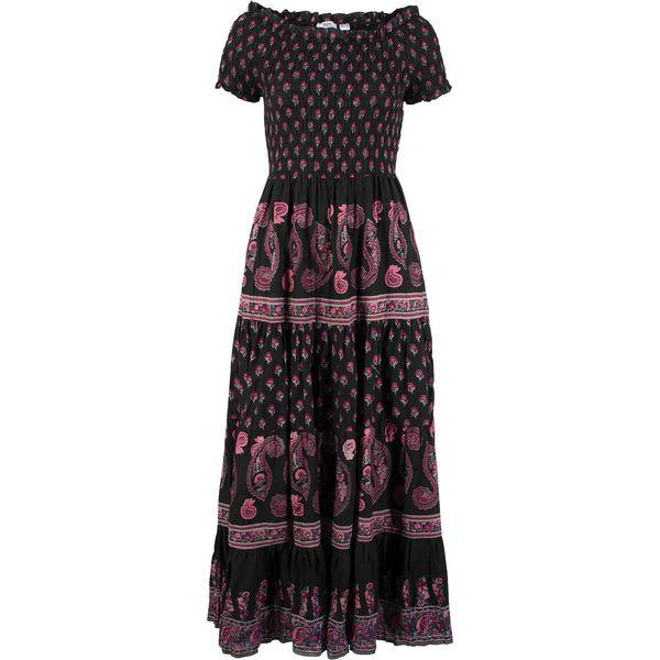 3efb1a0410 Długa sukienka bonprix czarny z nadrukiem - Czarne sukienki damskie ...