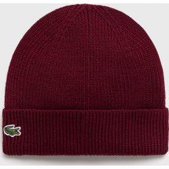 Lacoste - Czapka. Brązowe czapki zimowe męskie Lacoste, z dzianiny. W wyprzedaży za 159,90 zł.