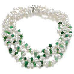 Naszyjniki damskie: Naszyjnik z kamieniami i perłami – (D)43 cm