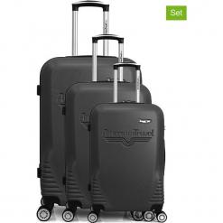 """Walizki (3 szt.) """"DC"""" w kolorze antracytowym. Szare walizki American Travel, z materiału. W wyprzedaży za 434,95 zł."""