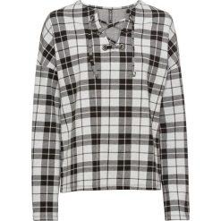 Bluza dresowa bonprix czarno-biały w kratę. Białe bluzy damskie bonprix, z dresówki. Za 59,99 zł.