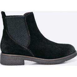 Tamaris - Botki. Czarne buty zimowe damskie marki Tamaris, z gumy, na obcasie. W wyprzedaży za 199,90 zł.