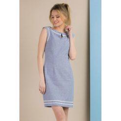 Odzież damska: Lniana sukienka z koronkową lamówką