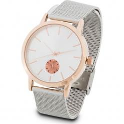 Zegarek na rękę na siatkowym pasku bonprix srebrny kolor - kolor czerwonego złota. Szare zegarki damskie bonprix, srebrne. Za 89,99 zł.