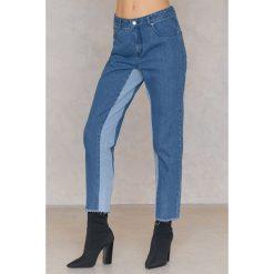 Spodnie damskie: Qontrast X NA-KD Jeansy w dwóch odcieniach z wysokim stanem - Blue