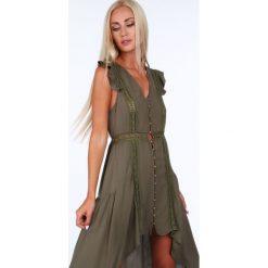 Sukienka zapinana na guziki khaki ZZ326. Brązowe sukienki Fasardi, m. Za 99,00 zł.