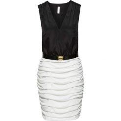 Sukienki hiszpanki: Sukienka z drapowaniem i paskiem bonprix czarno-biały