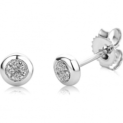 Złote kolczyki-wkrętki z diamentami. Szare kolczyki damskie REVONI, z diamentem, złote. W wyprzedaży za 366,95 zł.