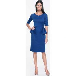 Sukienki: Szafirowa Sukienka Elegancka z Pół Baskinką