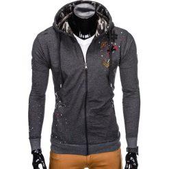 Bluzy męskie: BLUZA MĘSKA ROZPINANA Z KAPTUREM B802 - GRAFITOWA