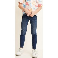Mango Kids - Jeansy dziecięce Allegra 104-164 cm. Różowe rurki dziewczęce marki Mayoral, z bawełny, z okrągłym kołnierzem. Za 69,90 zł.