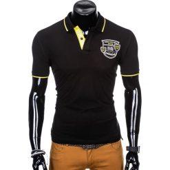 KOSZULKA MĘSKA POLO Z NADRUKIEM S905 - CZARNA. Czarne koszulki polo Ombre Clothing, m, z nadrukiem. Za 55,00 zł.