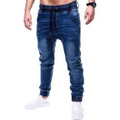 SPODNIE MĘSKIE JEANSOWE JOGGERY P407 - GRANATOWE. Niebieskie joggery męskie marki Ombre Clothing, z bawełny. Za 84,00 zł.
