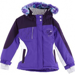 Kurtka narciarska w kolorze fioletowo-czarno-białym. Białe kurtki dziewczęce przeciwdeszczowe marki 4F JUNIOR, na lato, z materiału. W wyprzedaży za 167,95 zł.