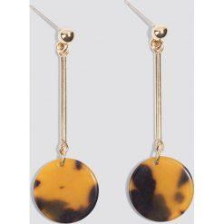 Kolczyki damskie: NA-KD Accessories Okrągłe wiszące kolczyki – Brown,Multicolor