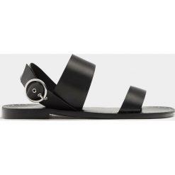 Rzymianki damskie: Czarne skórzane sandały z paskami