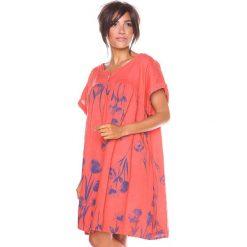 """Sukienki hiszpanki: Lniana sukienka """"Suzy"""" w kolorze koralowym"""