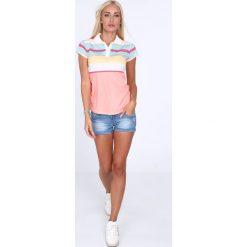 Koszulka polo w kolorowe pasy / łososiowy 7609. Czerwone bluzki asymetryczne Fasardi, l, w kolorowe wzory, polo. Za 39,00 zł.