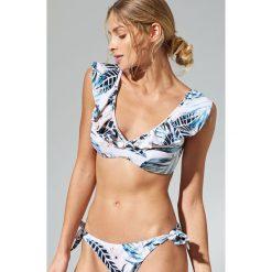 Stroje dwuczęściowe damskie: Góra od bikini w tropikalne kwiaty – Kremowy