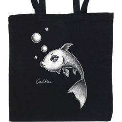 Ryba - torba (2 kolory). Czarne shopper bag damskie Pakamera, z materiału. Za 69,00 zł.