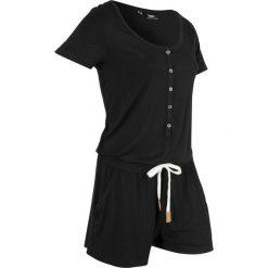 Kombinezon, krótkie nogawki bonprix czarny. Czarne kombinezony damskie marki bonprix, z dżerseju, z dekoltem w serek, na ramiączkach. Za 99,99 zł.