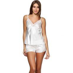Piżamy damskie: Piżama w kolorze mlecznym - koszulka, spodenki