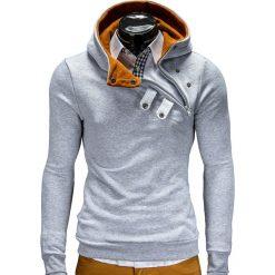 BLUZA MĘSKA Z KAPTUREM PACO - SZARO/RUDA. Brązowe bluzy męskie rozpinane marki Ombre Clothing, m, z bawełny, z kapturem. Za 69,00 zł.