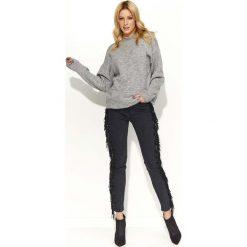 Swetry damskie: Szary Sweter Klasyczny Melanżowy z Okrągłym Dekoltem