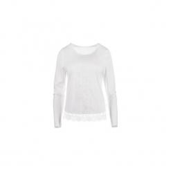 Bluzka tkanina gładka, z koronką. Szare bluzki koronkowe TXM, z długim rękawem. Za 29,99 zł.