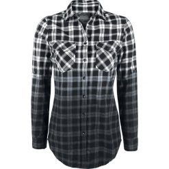 Bluzki asymetryczne: Black Premium by EMP Checked Dip Dye Shirt Bluzka damska biały/czarny
