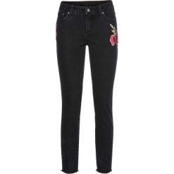 Dżinsy z naszywkami bonprix czarny denim. Zielone jeansy damskie marki bonprix, w kropki, z kopertowym dekoltem, kopertowe. Za 129,99 zł.