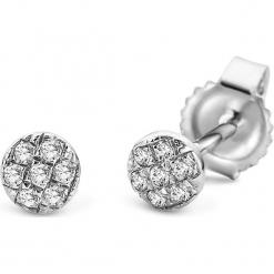 Złote kolczyki-wkrętki z diamentami. Szare kolczyki damskie REVONI, z diamentem, złote. W wyprzedaży za 388,95 zł.